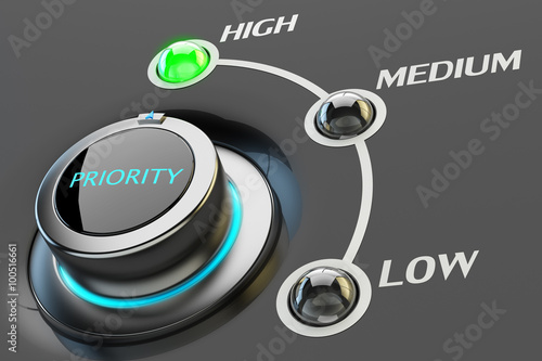 Photo Highest level of priority concept, web interface switch button pointing to the g