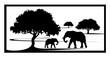 elephants are under trees, baby elephant, wild live, animal family