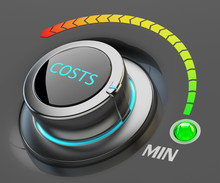 Lowest Level Of Costs Concept, Web Interface Switch Button Pointing To The Green Indicator With Item Min And Color Dial Scale On Black Background