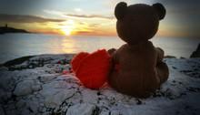 Teddy Bear With Heart To Sunrise