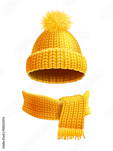 Fotografie, Obraz  Knitted Hat And Scarf Flat Illustration