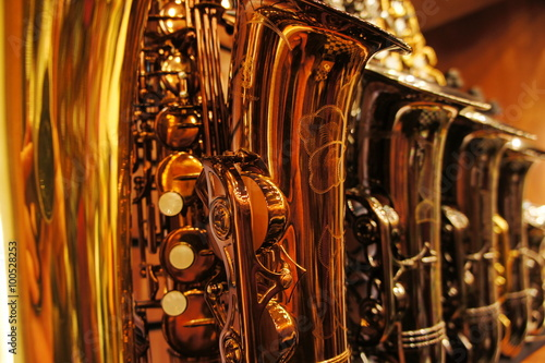 Photo Stands Music store Saxophones in store 2
