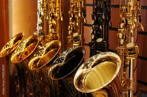 Canvas Prints Music store Saxophones in store