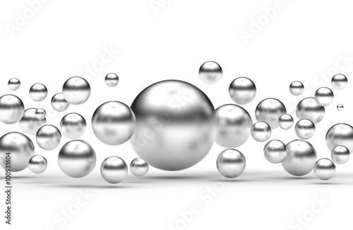 Fototapeta Abstrakcja srebrne kulki obraz
