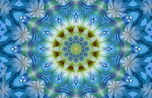 Photo  Beautiful blue floral mandala