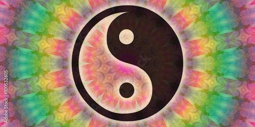 Yin yang symbol and mandala Canvas Print