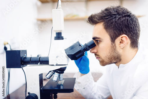 plakat medical scientist with microscope, examining samples and liquid in special laboratory.