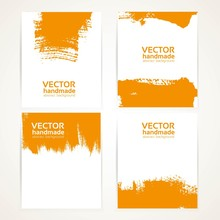 Abstract Orange Texture Handdrawing On Banner Set