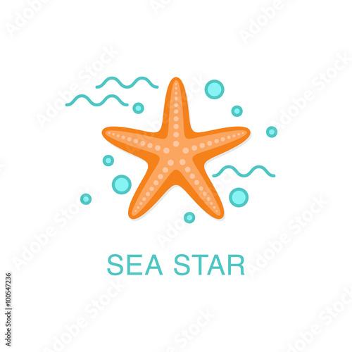 Sea star (starfish) flat icon. Summer vacation concept.