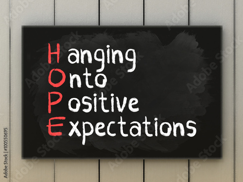 HOPE acronym on blackboard written with chalk Canvas Print