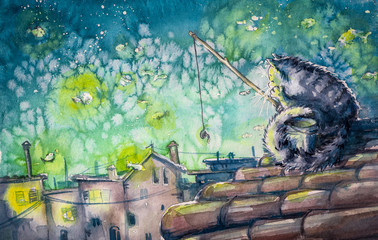 Night city scene-cat fishing on the roof.Watercolors illustration.