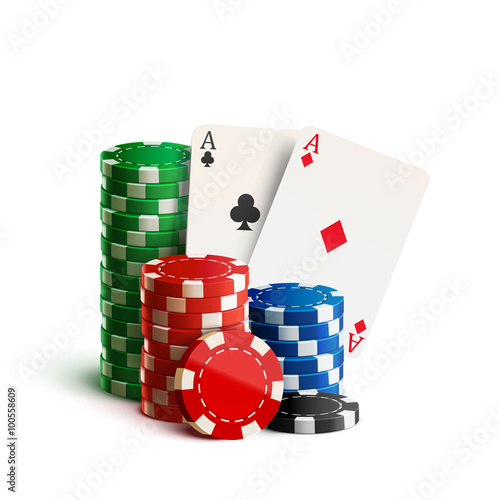 Fotografie, Obraz  casino chips and cards isolated on white realistic theme