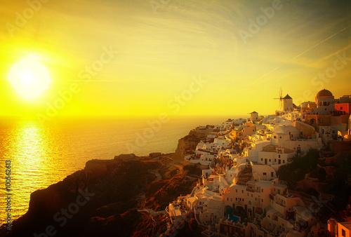 Aluminium Prints Yellow windmill of Oia at sunset, Santorini