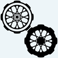 Old wheel motorcycle. Isolated on blue background. Vector silhouettes