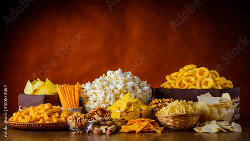 Fotografering  Snacks, Nuts and Popcorn