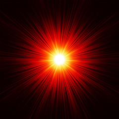 FototapetaStar burst red and yellow fire. EPS 8