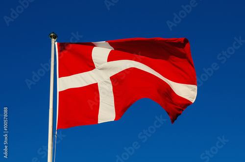 Flag of Denmark against the blue sky, national patriotic background Poster