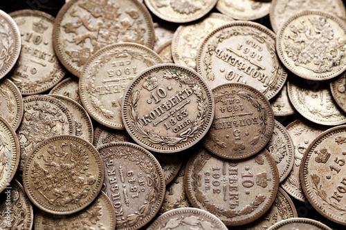 Photographie  Pile de pièces d'argent russe impériales