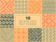 Set Of Ten Vector Seamless Hand Drawn Geometric Square Circular Lines Patterns In Orange Tan And Green Colors