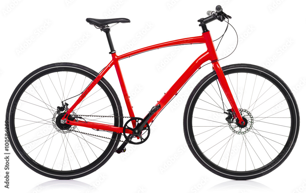 Fototapeta New red bicycle isolated on a white