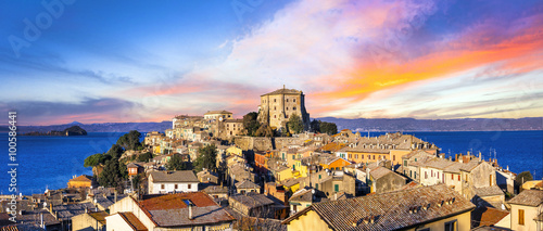 Beautiful medieval village (borgo) Capodimonte  - (lago di Bolsena) Italy Tablou Canvas