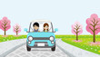 Driving Couple - cherry tree road