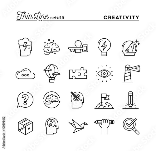 Obraz Creativity, imagination, problem solving, mind power and more, thin line icons set - fototapety do salonu