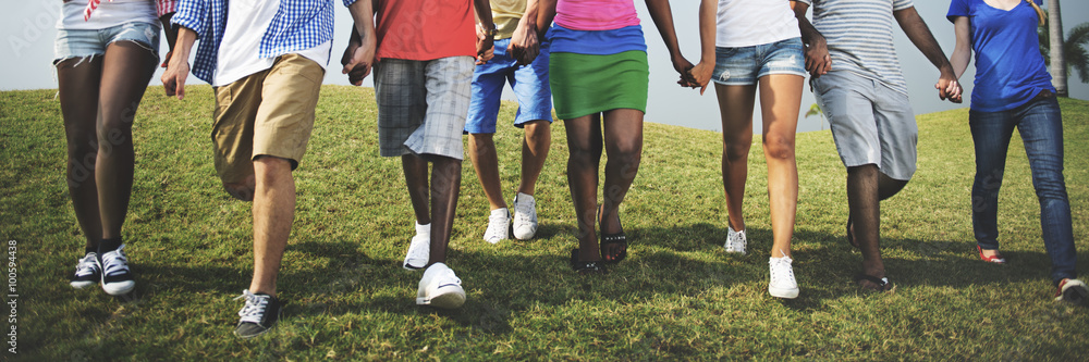 Fototapety, obrazy: Group Casual People Walking Together Outdoors Concept