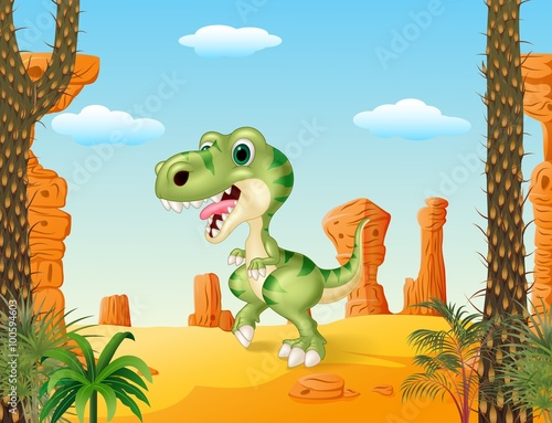 Canvas Prints Dinosaurs Cartoon funny dinosaurwith the desert background