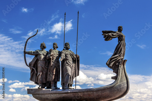 Photo Stands Kiev Founders Monument Dniper River Kiev Symbol Kiev Ukraine