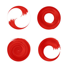 Set Of Red Round Element For Design