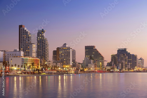 Tel Aviv Skyline. Image of Tel Aviv, Israel during sunset.
