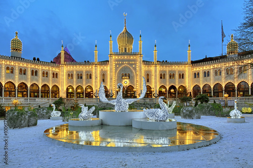 Photo  Moorish Palace and Christmas installation with Swans in Tivoli Gardens in Copenh