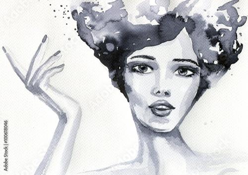 Photo sur Toile Inspiration painterly portret akwarelowy kobiety