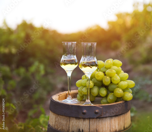 Photo Two glasses of liquor or grappa with bunch of grapes