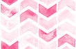 Leinwanddruck Bild - Pink chevron with white background. Watercolor seamless pattern for fabric