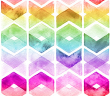 Watercolor Chevron Rainbow Col...