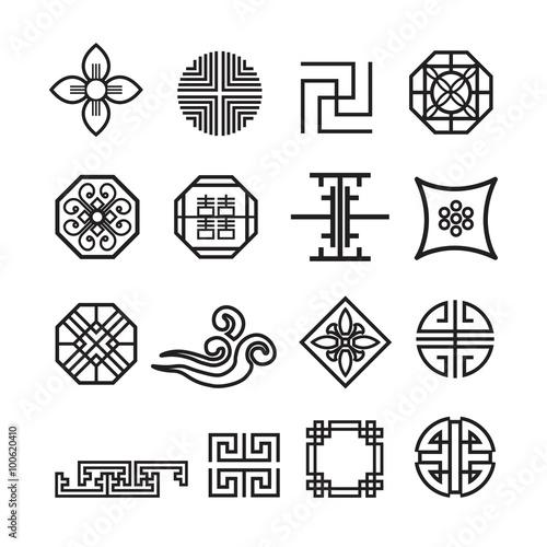 Photo  Korean ornament icon,vector set