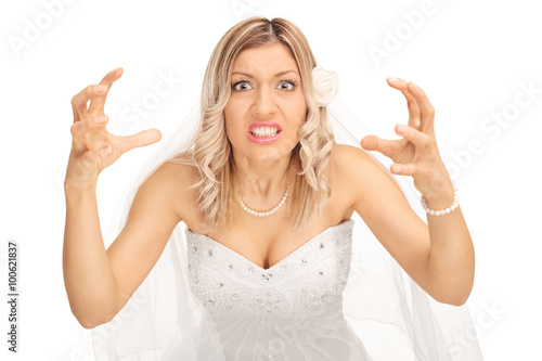 Fotografie, Tablou  Angry bride threatening to strangle someone