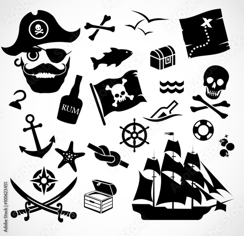 Photo  Pirate icon set vector