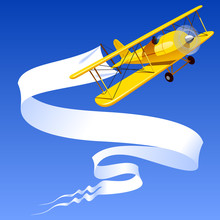 Vintage Yellow Airplane With A Banner