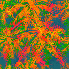 Panel Szklany Podświetlane Liście tropical pattern 17
