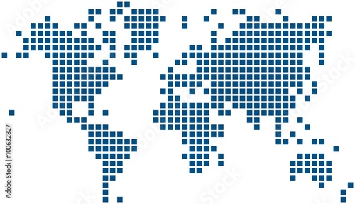 Blue square world map on white background, vector illustration.