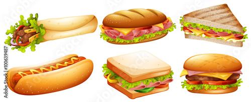 Fototapeta Different kind of fastfood obraz