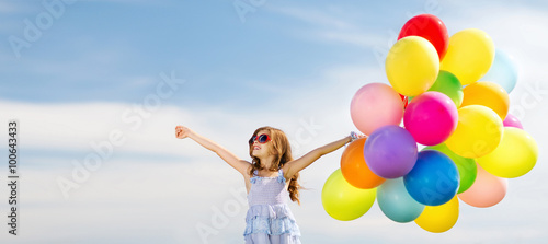 happy girl with colorful balloons Fototapet