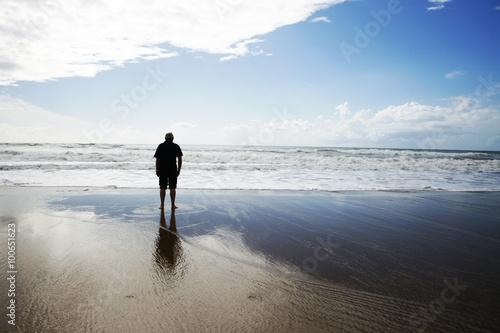 Fotografie, Obraz Homme seul et libre face à la mer