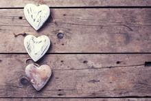 Three Decorative  Hearts On Vi...