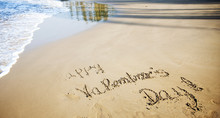 """Happy Valentines Day!"" Written In Sand On Tropical Beach - Vint"