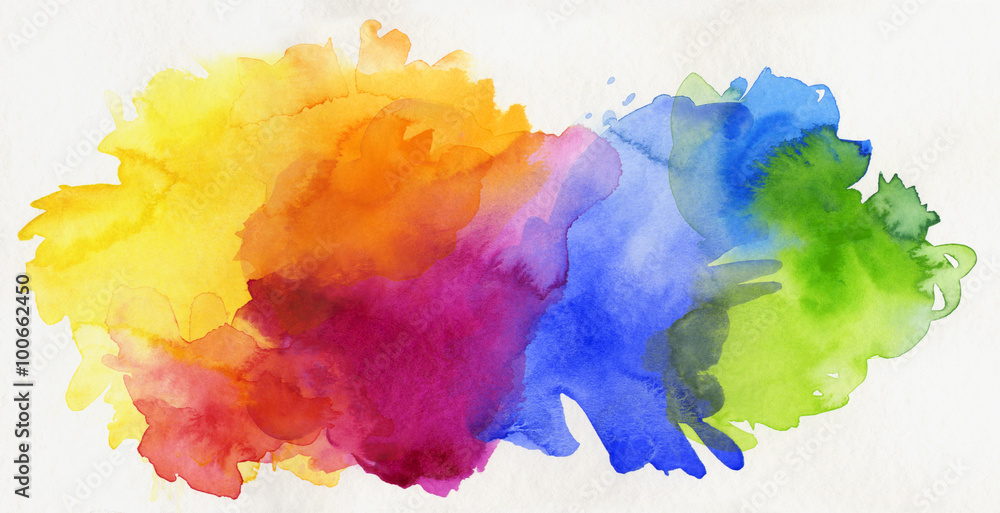 Fototapety, obrazy: aquarell regenbogen abstrakt freigestellt