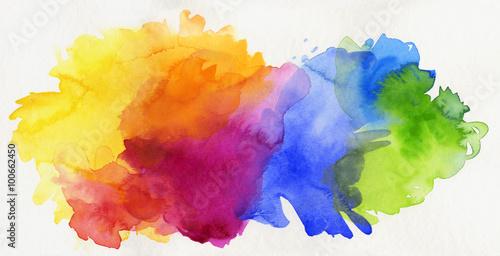 Fotografie, Obraz  aquarell regenbogen abstrakt freigestellt